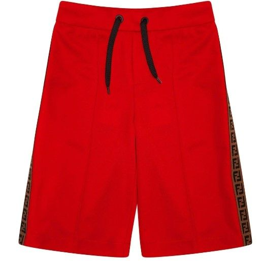 JMF172 / F0QCP RED / FENDI TRACK SHORTS W/LOGO