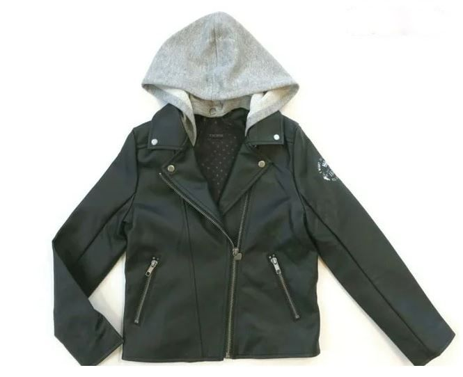 XM40022 / 02 BLACK / IKKS FAUX LEATHER JACKET W/DETACHABLE HOOD