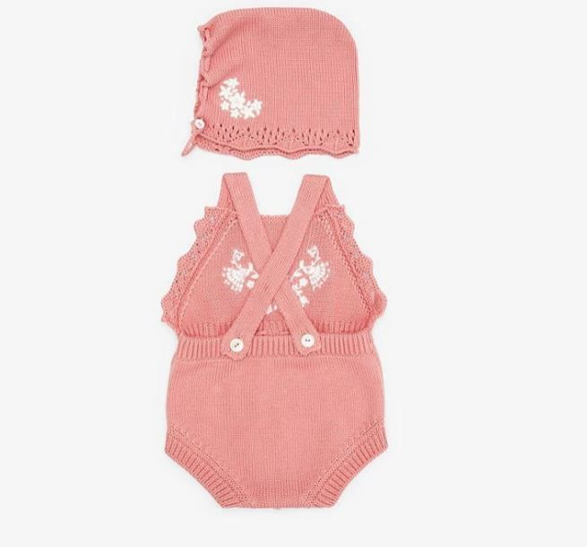 BUK058 / PINK / FENDI BABY COTTON AND CASHMERE PLAYSUIT AND BONNET