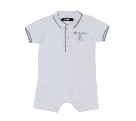6M0951 / 100 WHITE / 3 PC POLO ROMPER W/BIB + HAT