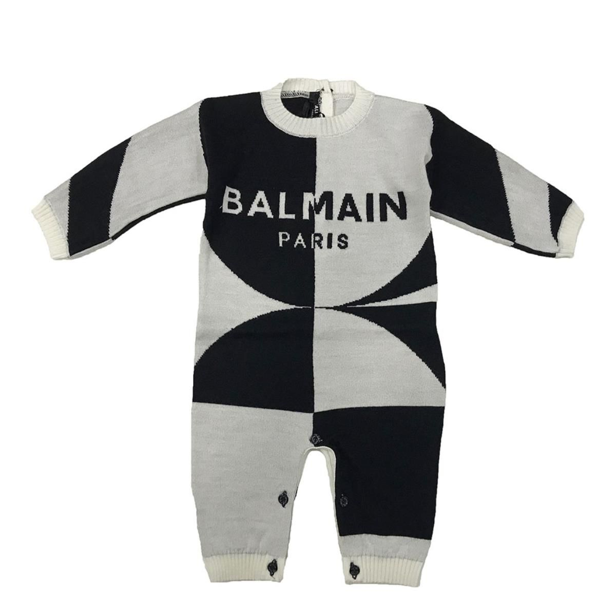 6N9810 / 100NE WHT/BLK / BABY 2-TONE KNIT COVERALL