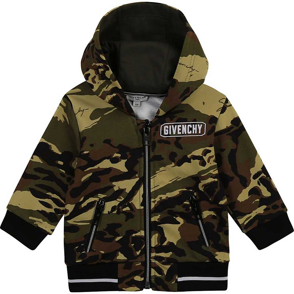 H05156 / 64H CAMO / Zip Up Hoodie Camo Print, Flocked Logo