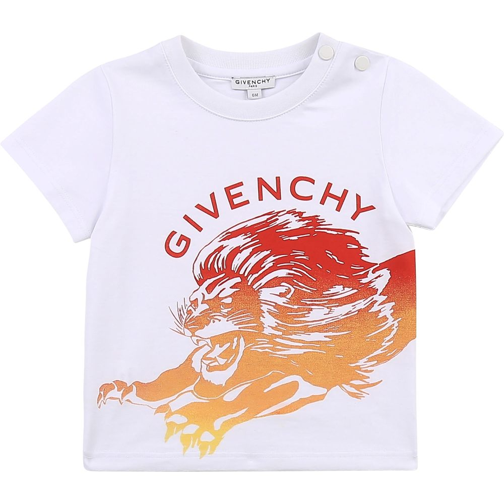 H05173 / 10B WHITE / Ss Shirt, Front Lion Graphic, Printed Logo