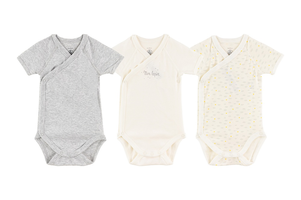 A002F MUSIQUE / 00 WHITE GREY / Baby 3 Packs Ss Crossover Bodysuit