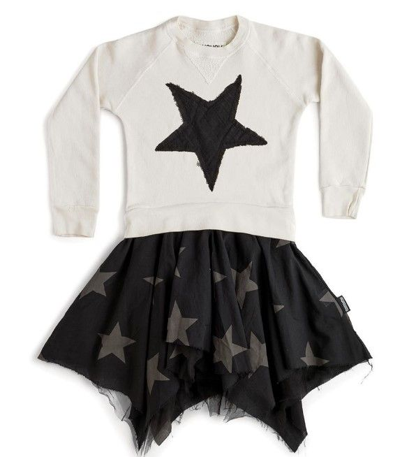 NH335B / NATURAL / Holiday Falling Star Flowy Dress