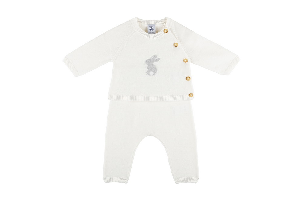 59456 / 01 WHITE / Baby 2 Pc Set Sweater With Bunny Graphic and Pants