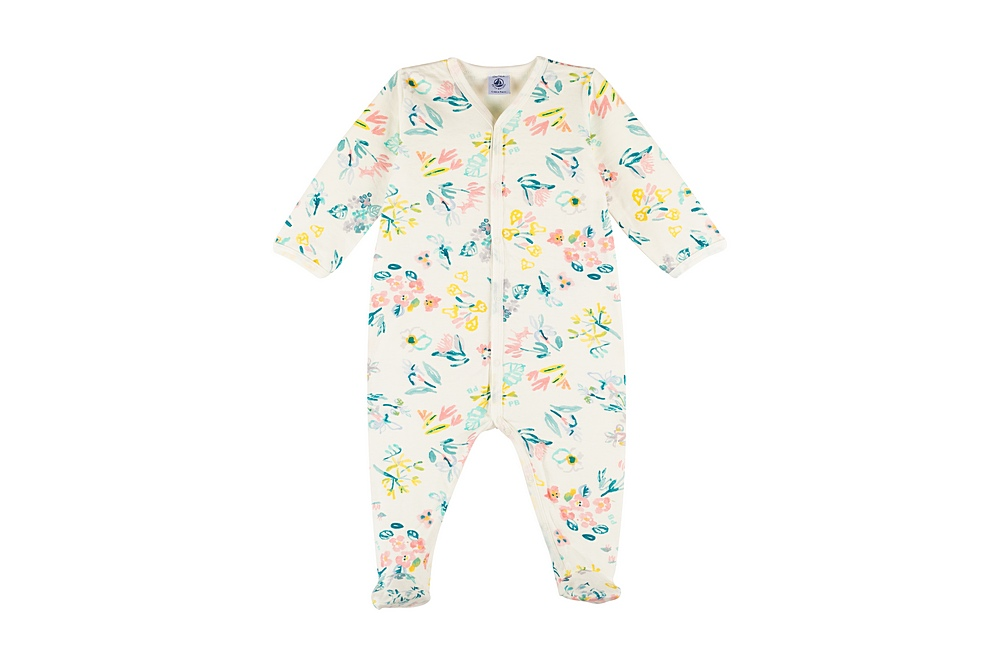 59286 MINUTE / 01 WHITE MULTI / Baby Girl Front Snap Floral Footies