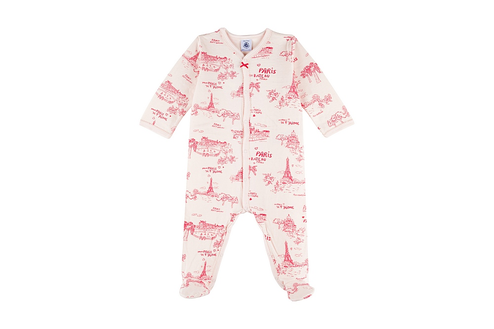 59383 MINIMA / 01 PINK / Baby Girl Front Snap Parisien Footie