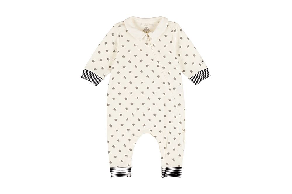 A00MF MUSEE / 03 WHITE GREY / Baby Boy Zip Up Star Print Romper With Collar