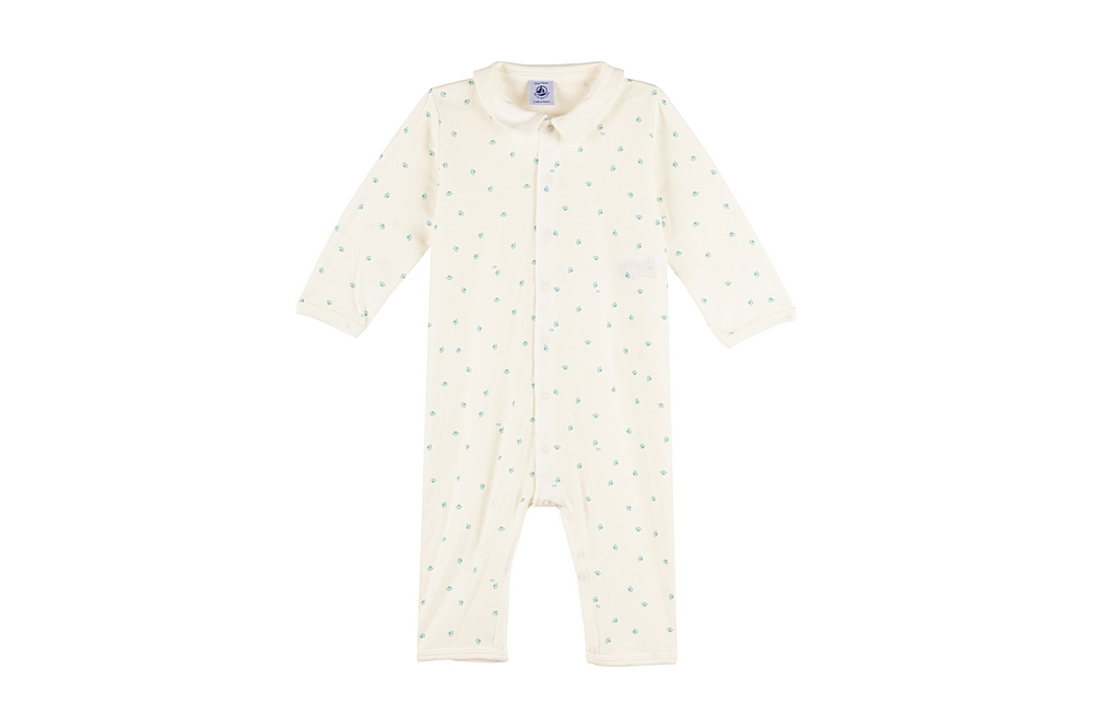 A00P6 / 01 WHITE BLUE / Baby Boy Printed Romper