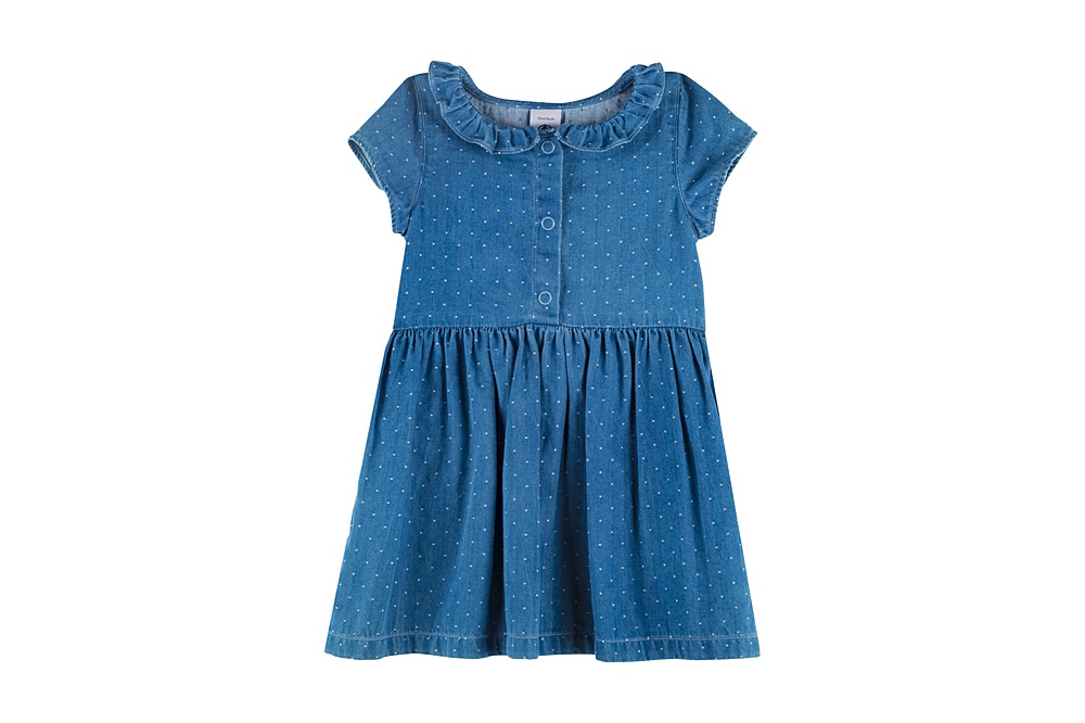 59620 MARANE / 01 BLUE WHITE / Baby Girl Ss Dots Denim Dress With Collar