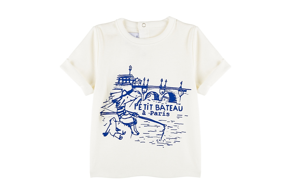 A009B MERINOS. / WHITE / Baby Biy Ss Tee With Graphic