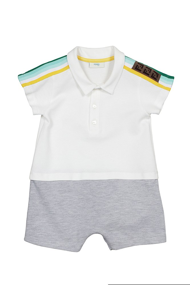 BML114 AVP / F0TU9 WGT GRY / Bb Boy Ss Polo Romper W Stripes Pattern