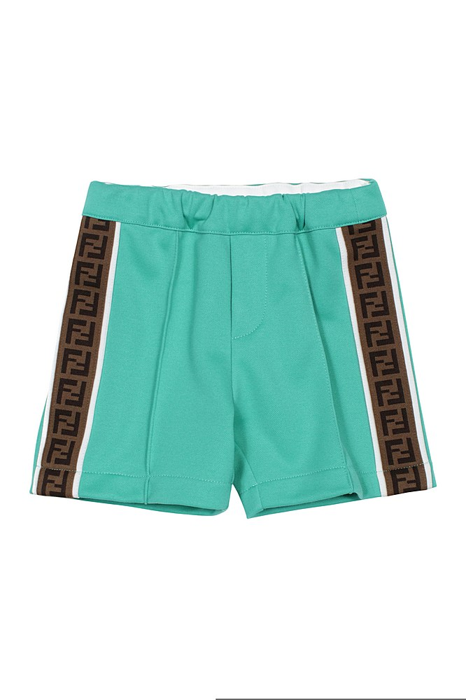 BMF180 A69D / F1CE7 GREEN / Bb Boy Short W Logo Prt Stripes on A Slides