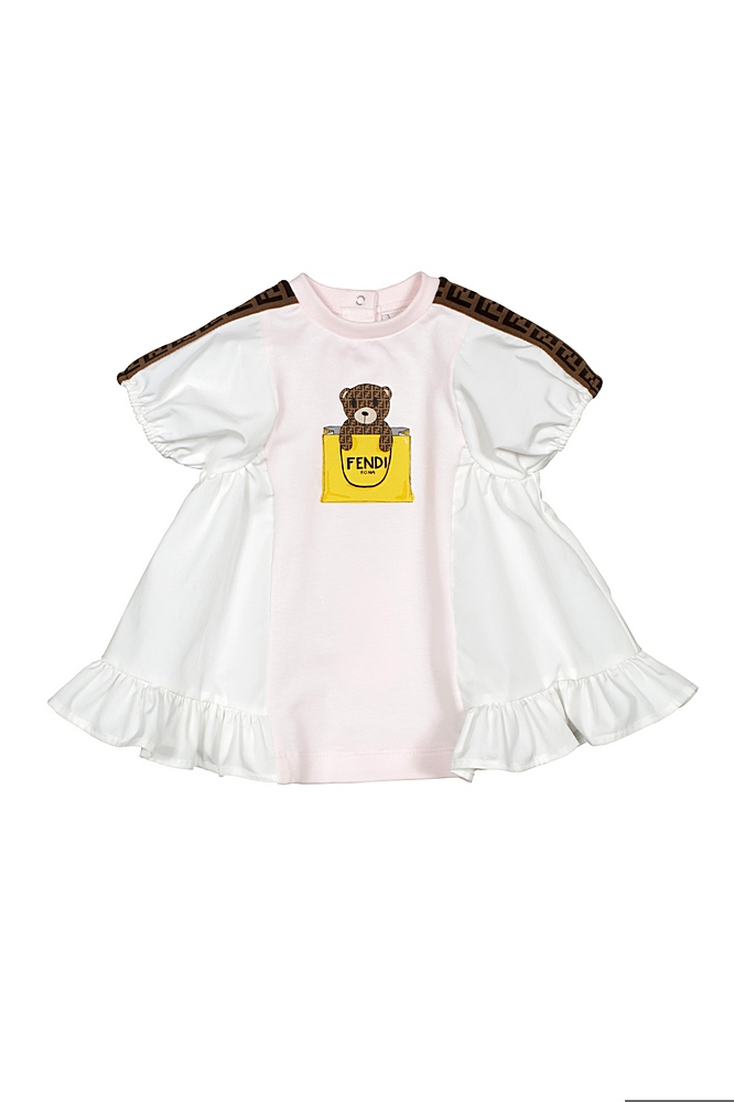 BFB347 AEYZ / F0C11 WHITE / Bb Girl Dress W Puffy Slv and Bear Prt