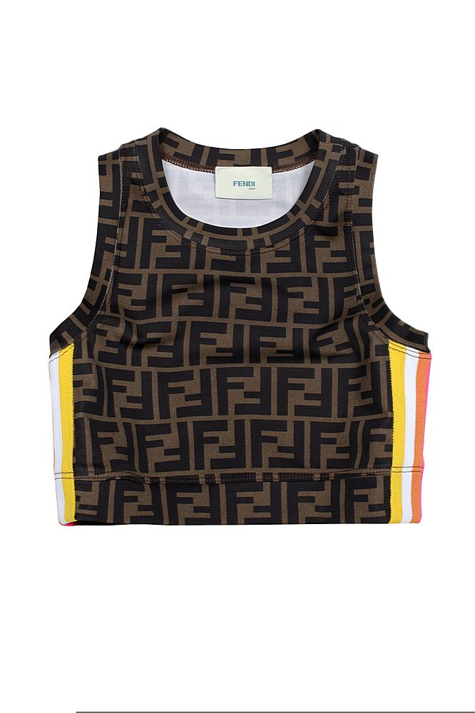 JFI229 ADF3 / F1DEU BROWN / Girls Overall Print Top With Racer Stripe