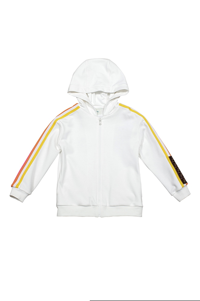 JUH020 5V0 / F1DEQ WHITE / Hooded Track Jcket With Racer Strip and Logo