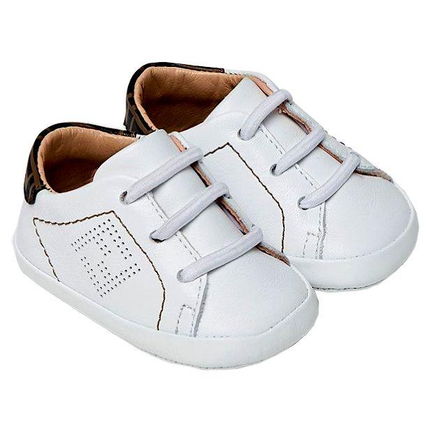 BUR083 ADGA / F19J5 WHITE / Baby Crib Shoes Sneaker With Logo