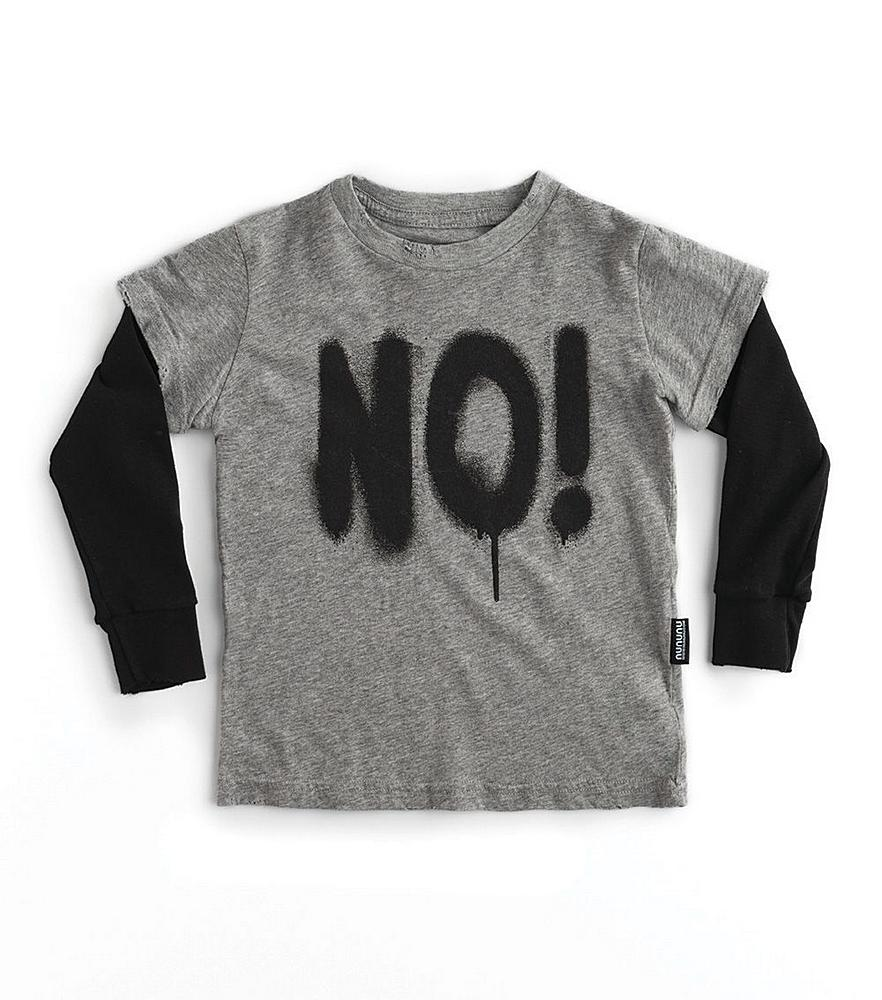NU2704B / HEATHER GREY / Sprayed NO! T- Shirt