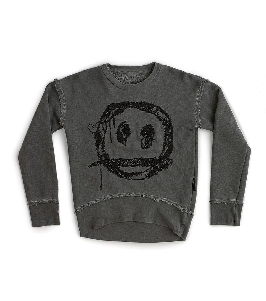 NU2712A / VINTAGE GREY / Embroidered Smile Sweatshirt