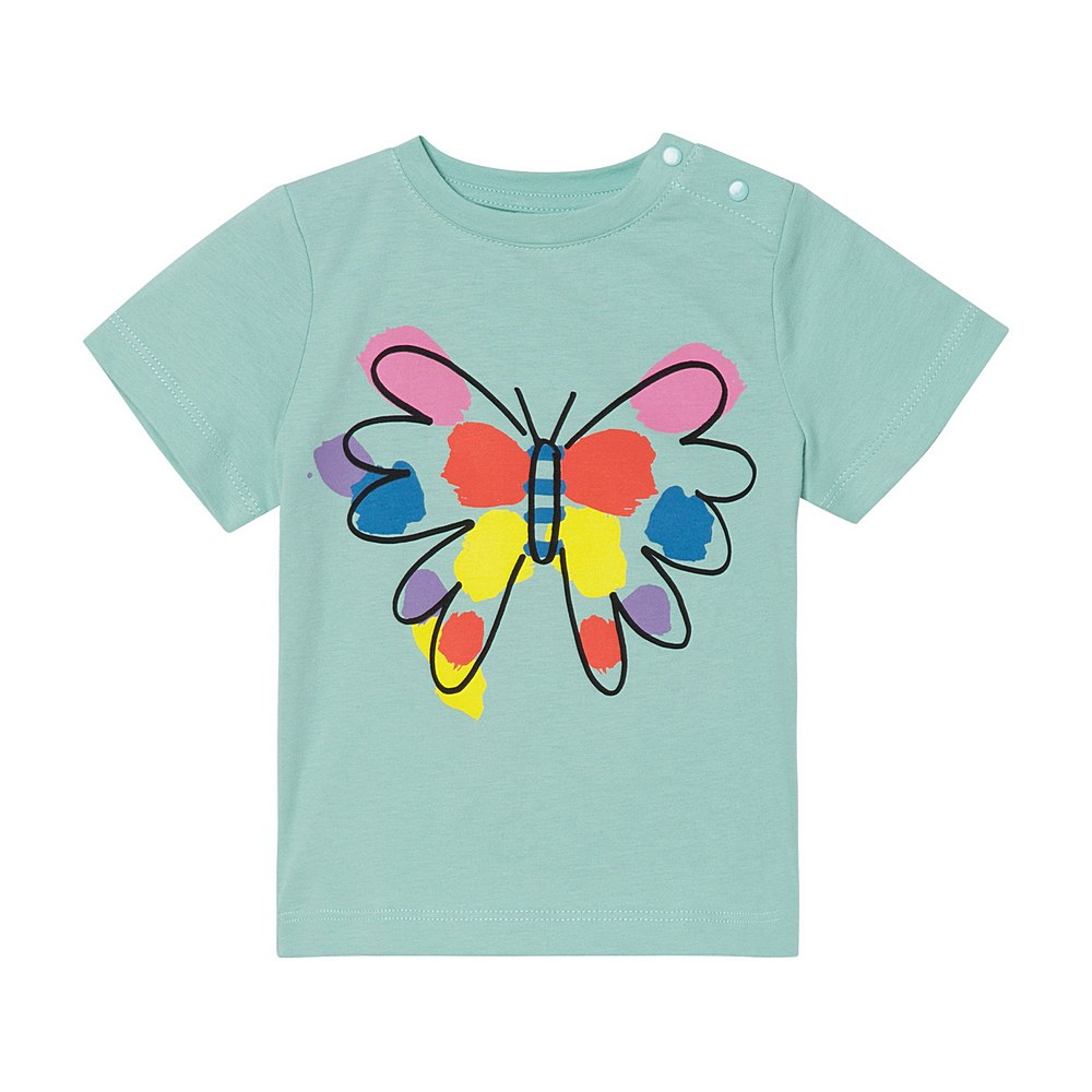 602597 SQJC1 / 3442 BLUE / Baby Girl Ss Tee With Paint Butterfly