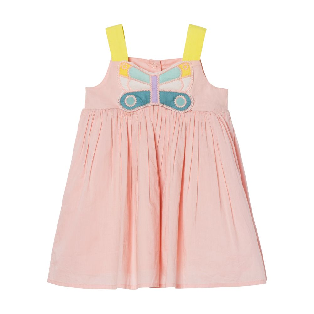 602550 SQK82 / 6840 PINK / Baby Girl Dress With Muticolor Butterflies Patch