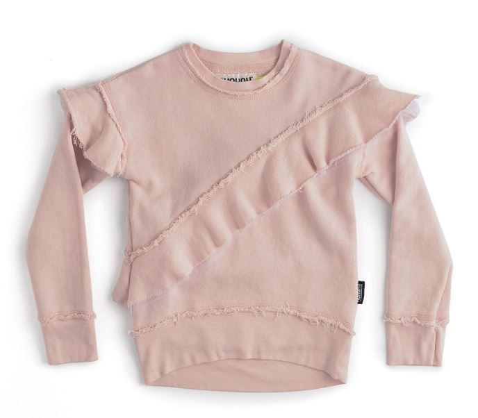NU2718A / POWDER PINK / Asymmerical Ruffle Sweatshirt