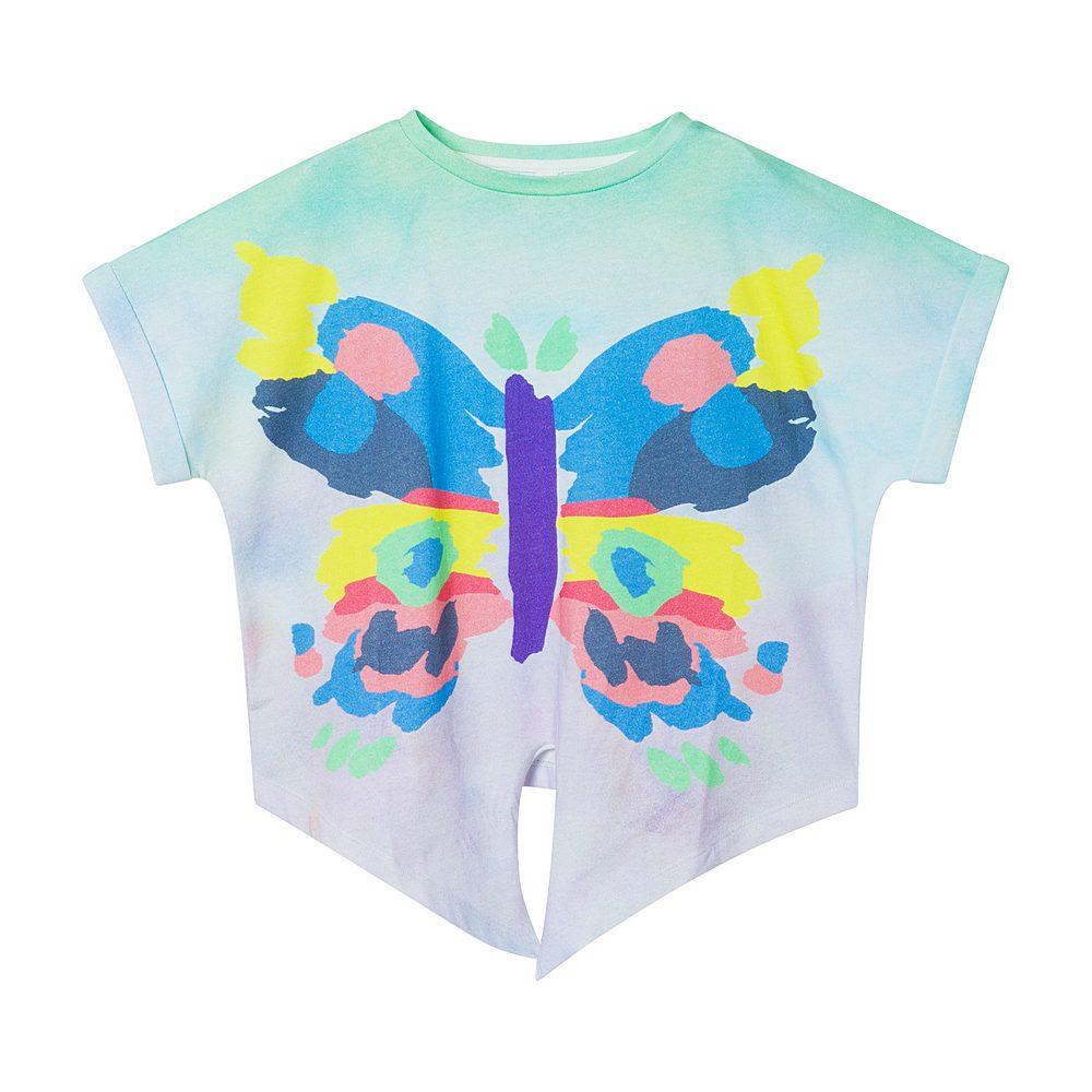 602653 SQJB9 / 8490 MULTI / Kid Girl Ss Butterfly Front Tie Tee