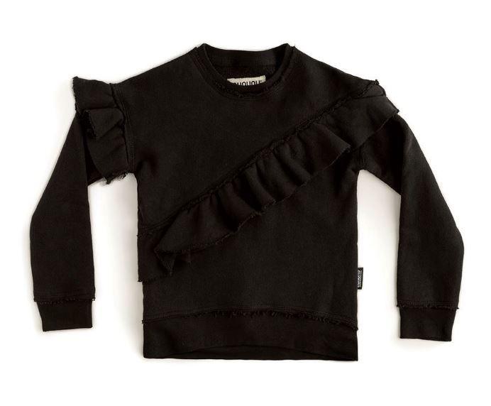 NU2718B- / BLACK / Asymmerical Ruffle Sweatshirt