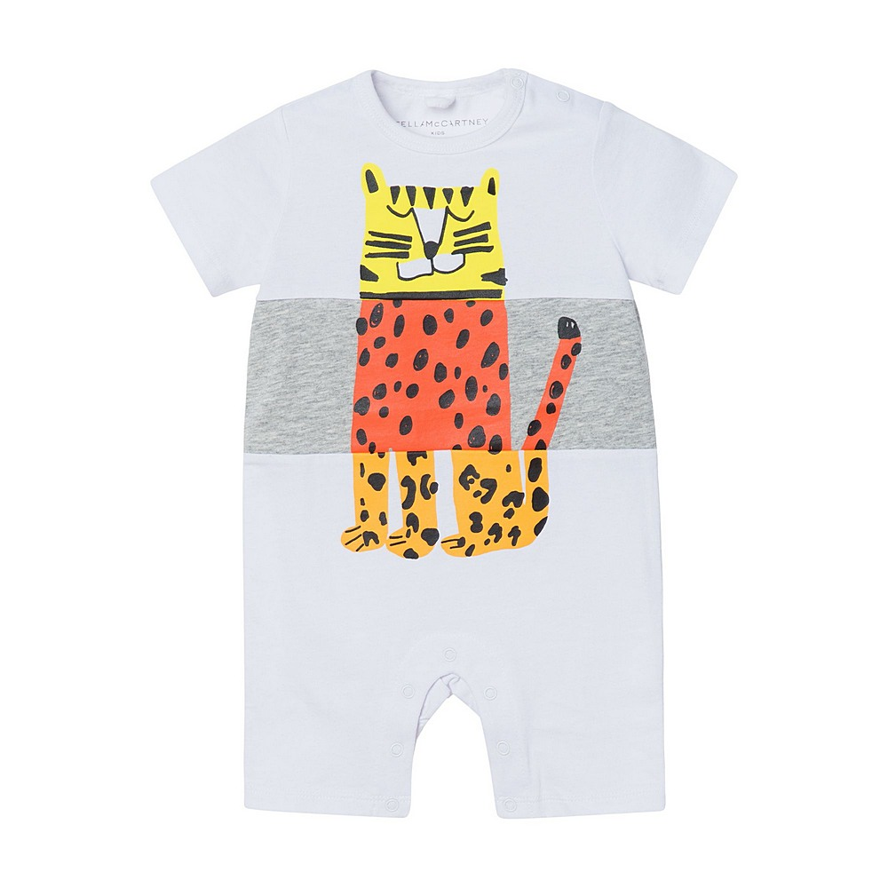 602304 SQJ21 / 9000 WHITE / Baby Boy Ss Jumpsuit With Tiger