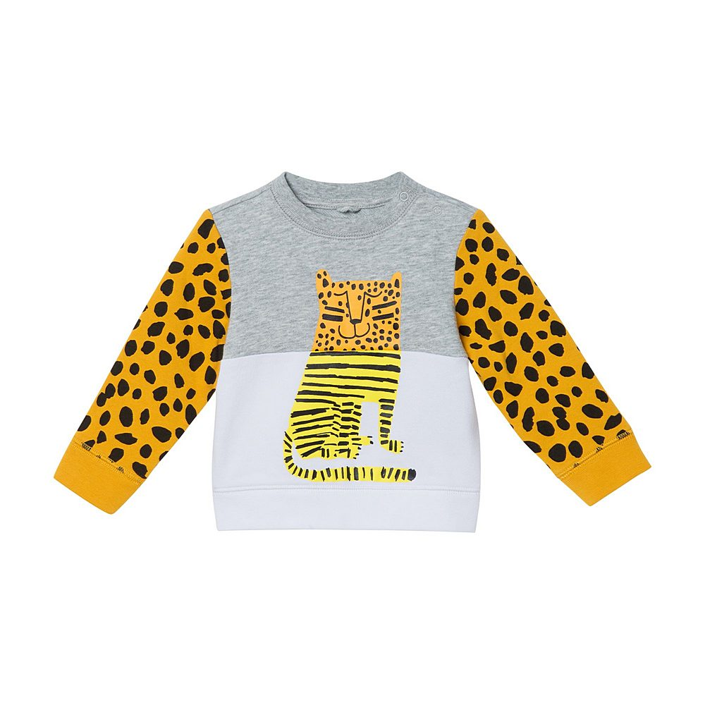 602269 SQJ28 / 1461 MULTI / Baby Boy Colorblock Tiger Sweatshirt