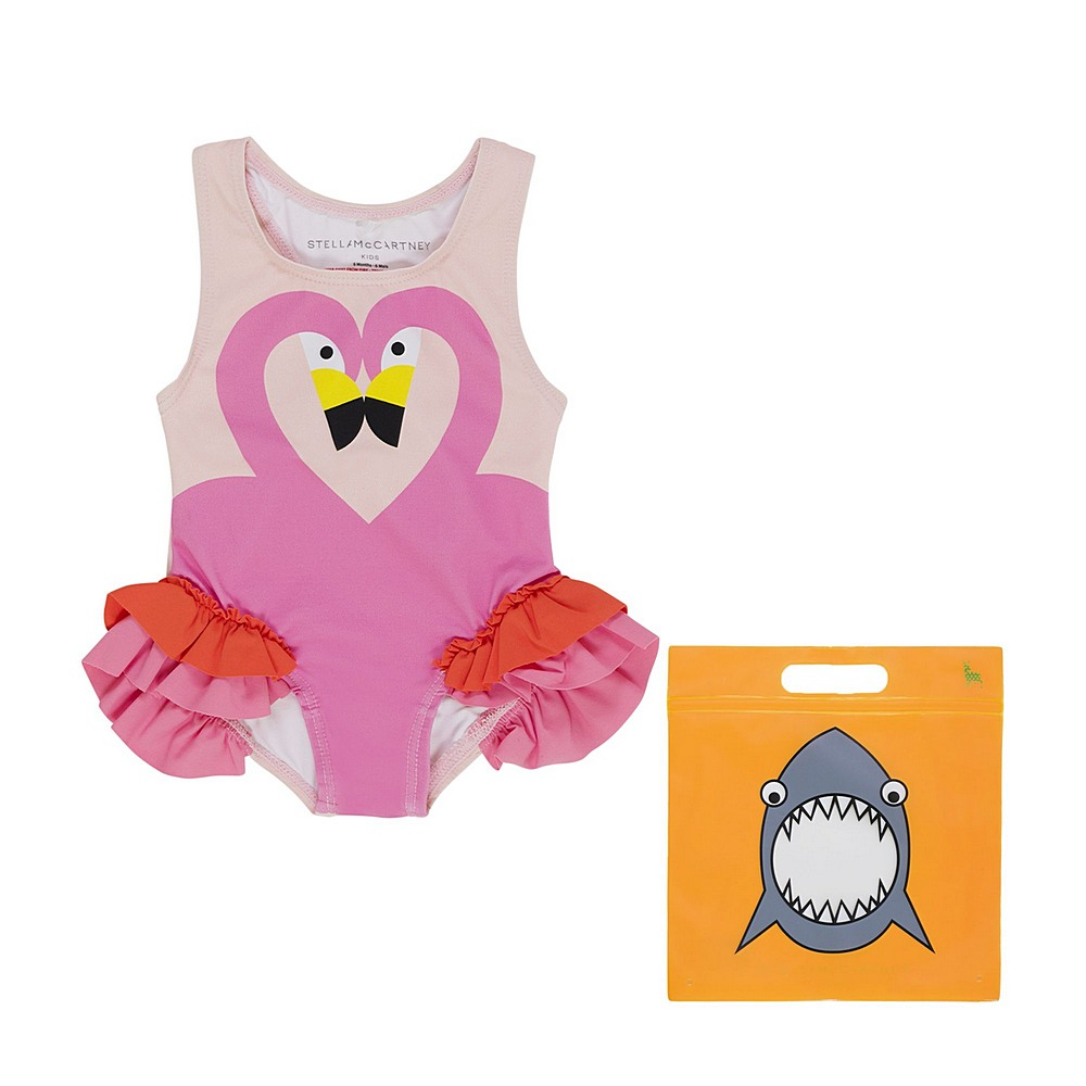 602567 SQK62 / 6840 PINK / Baby Girl Flamingo Frill One Piece Swimsuit