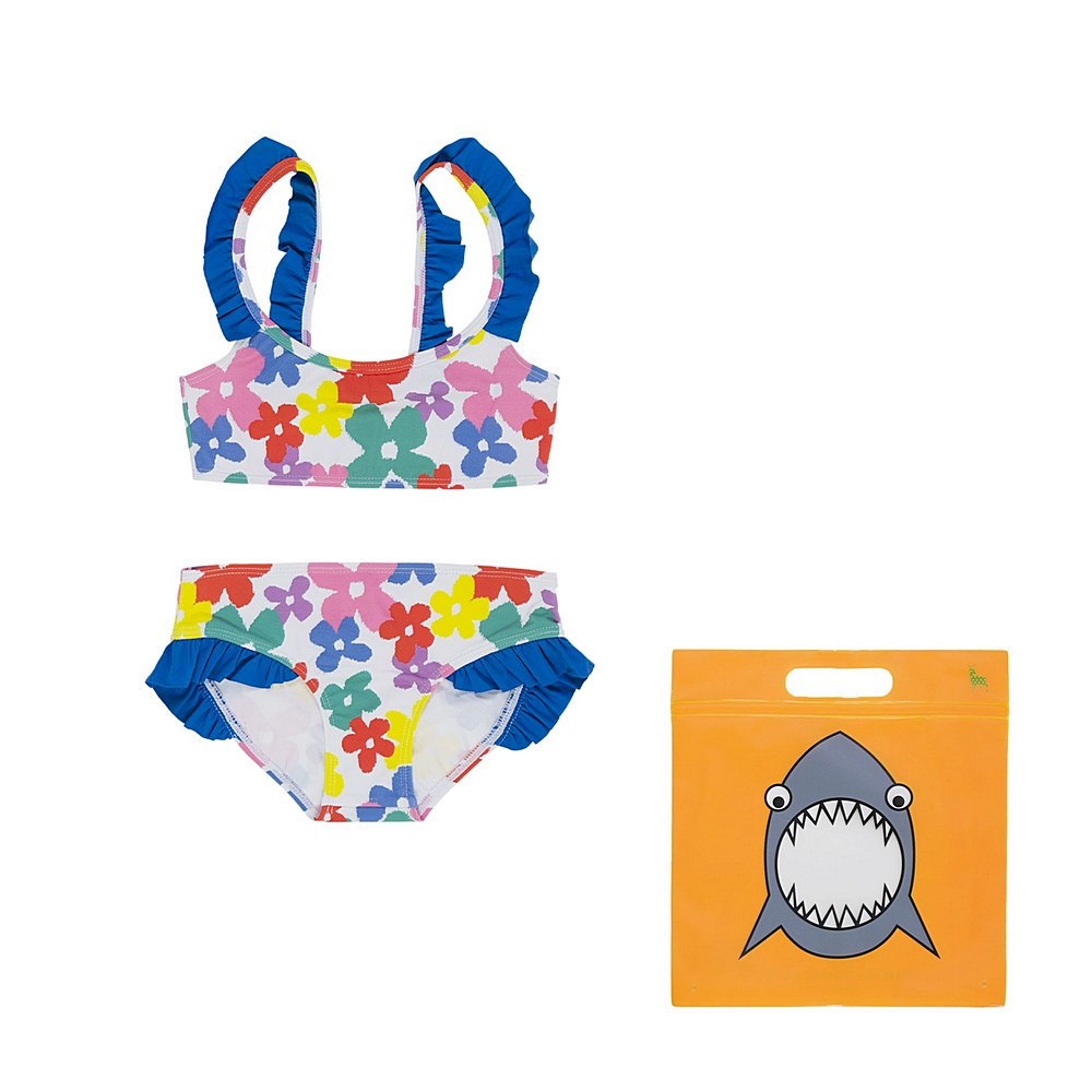 602802 SQK67 / H903 MULTI / Kid Girls Flowers Ikini With Frills