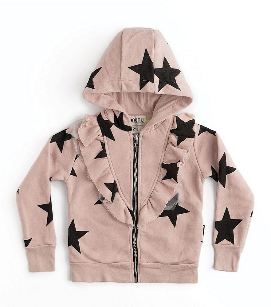 NU2732B / POWDER PINK / Front Ruffle Star Zip Hoodie