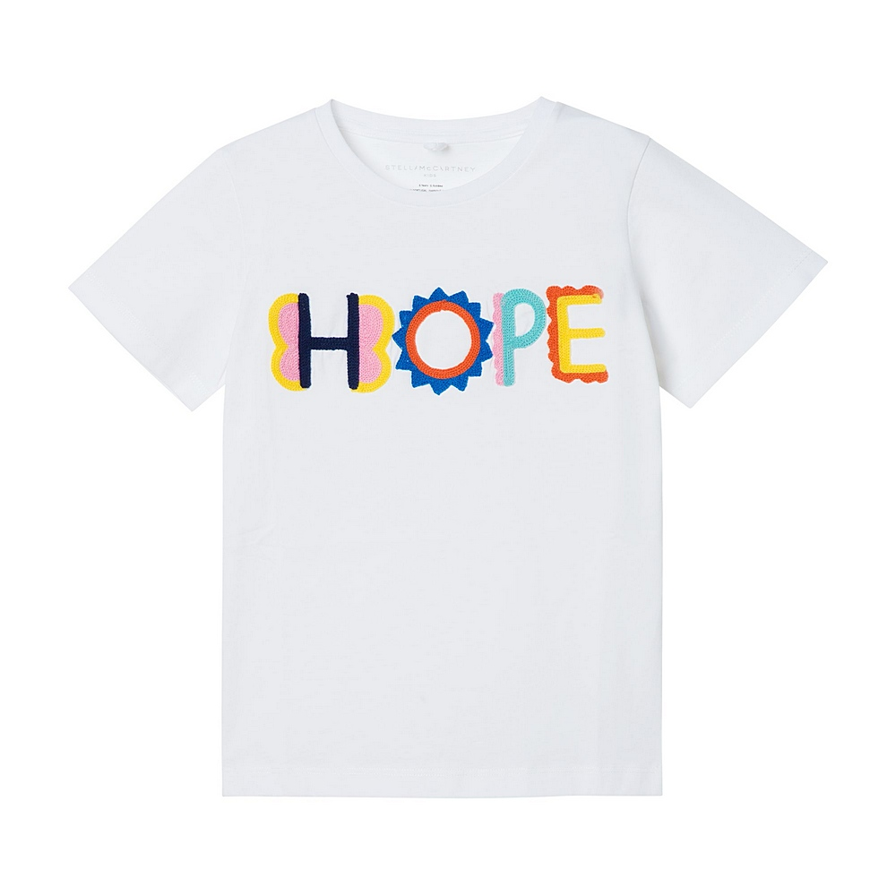 602648 SQJD9 / 9000 WHITE / Kid Girls Ss Tee With Hope Emb