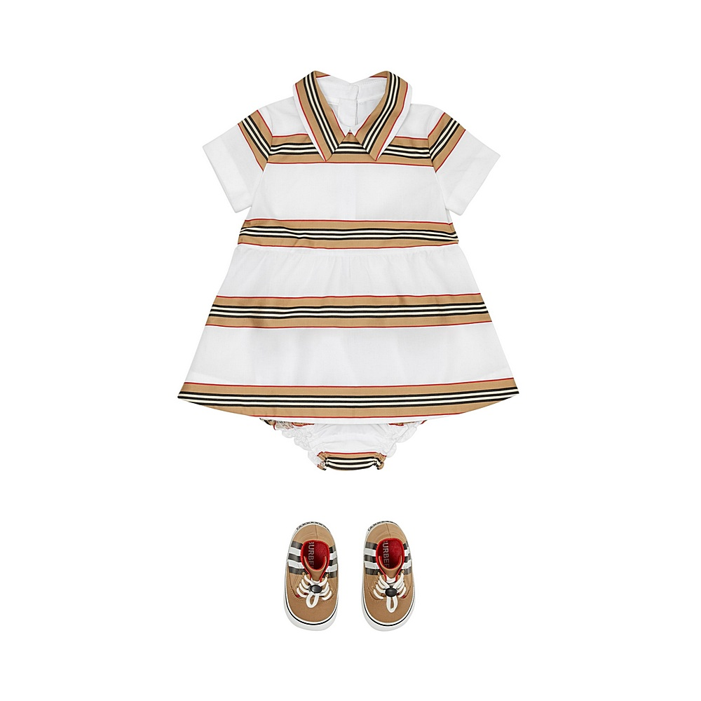 8036587 / WHITE IP STRIPE / BURBERRY KIKI NB DRESS