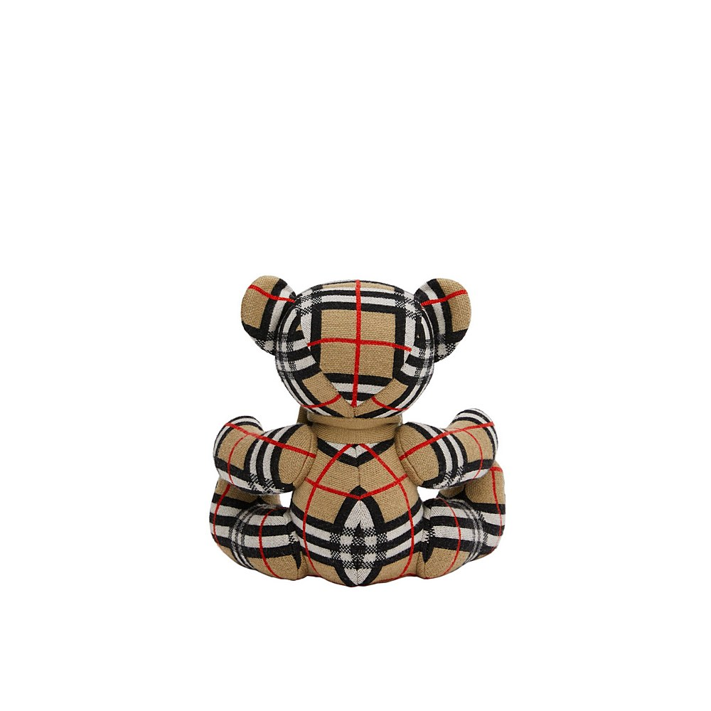 8026815 / ARCHIVE BEIGE / BURBERRY CHECK SITTING KNITTED BEAR