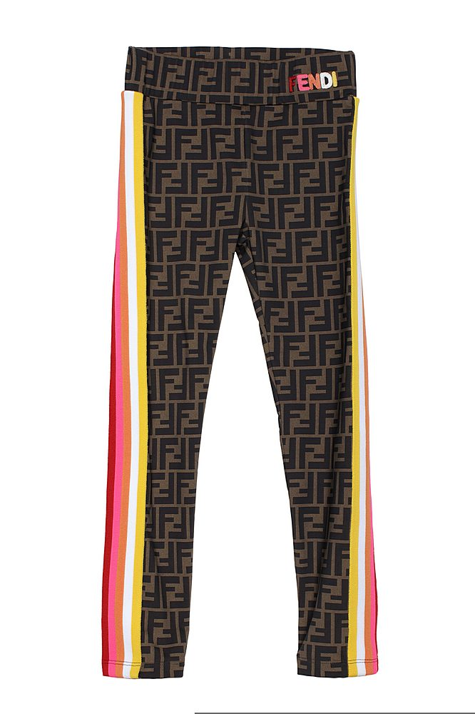 JFF209 ADF3. / F0E0X BRN PRT / Girl Overall Print Leggings With Racer Stripes