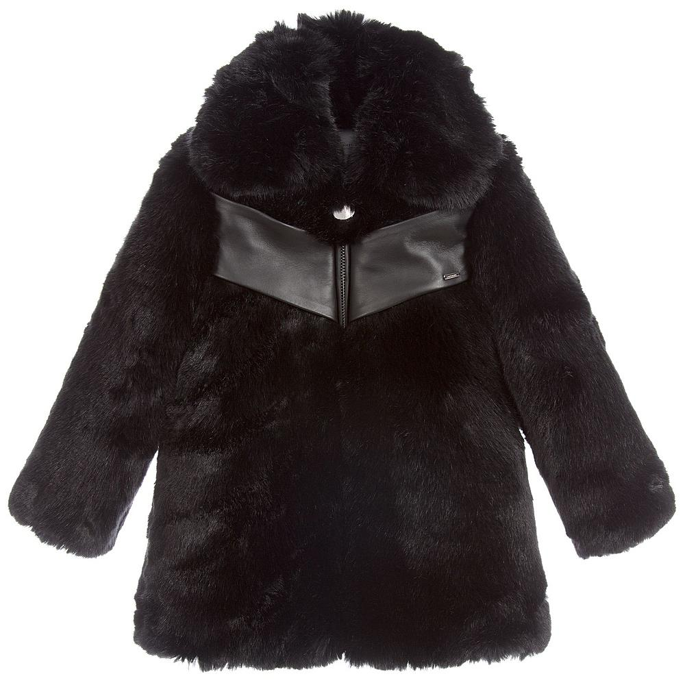 H16031 / BLACK / GIVENCHY FAUX FUR COAT