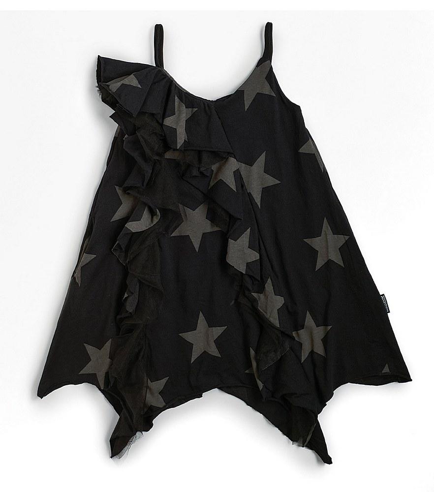 NU2985B / BLACK / Star Riffled Tank Dress