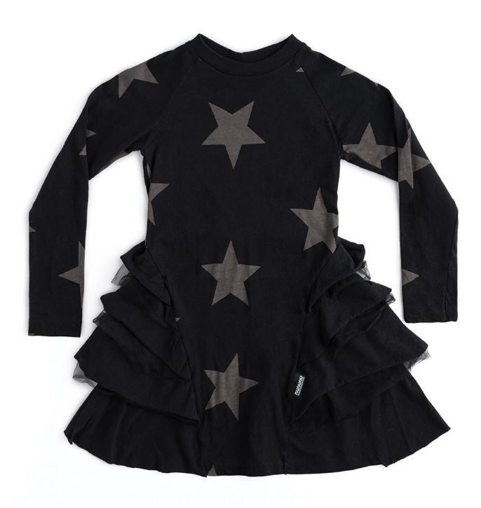 NU2785A / BLACK / Star Multy Layered Dress