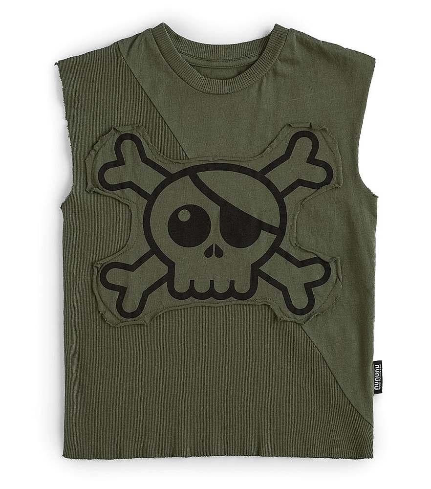 NU2914A / OLIVE / Slevveless Skull Shirt