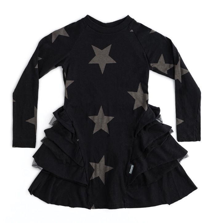 NU2785B / BLACK / Star Multy Layered Dress