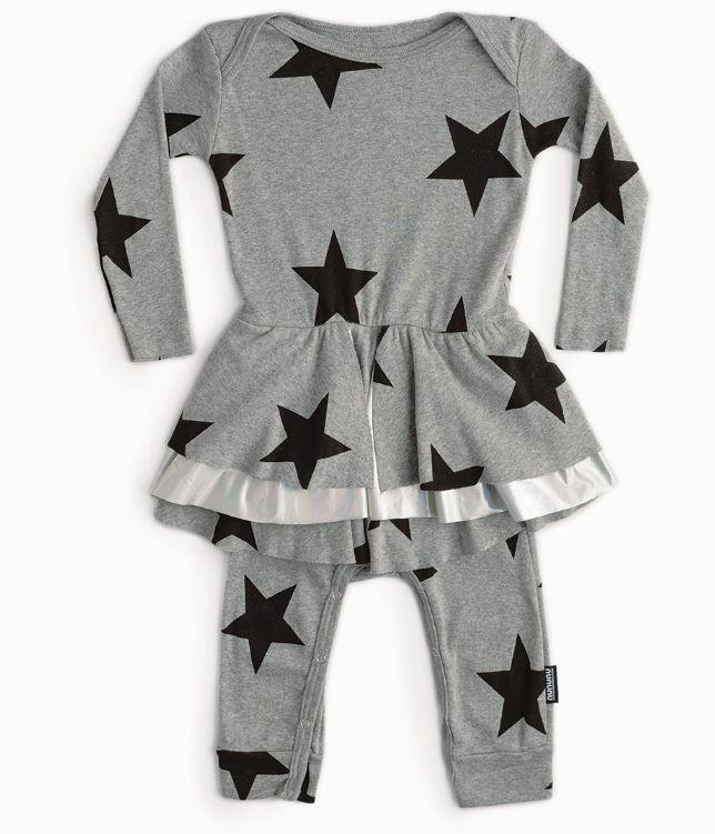 NU2814 / HEATHER GREY / Star Shirted Overall