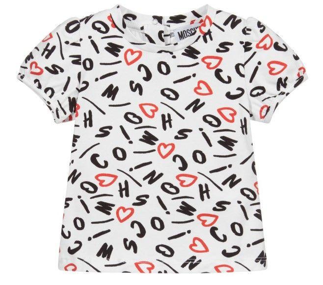 MFM02B LBB60 / 84260 WHITE / Bb Girls Tee With Heart Letter Prt Allover
