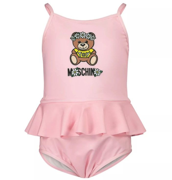 MDL00E LKA00 / 50209 SUG ROSE / Bb Girls Swimsuit W Croo Back Ruf Amd Fl Bear Print