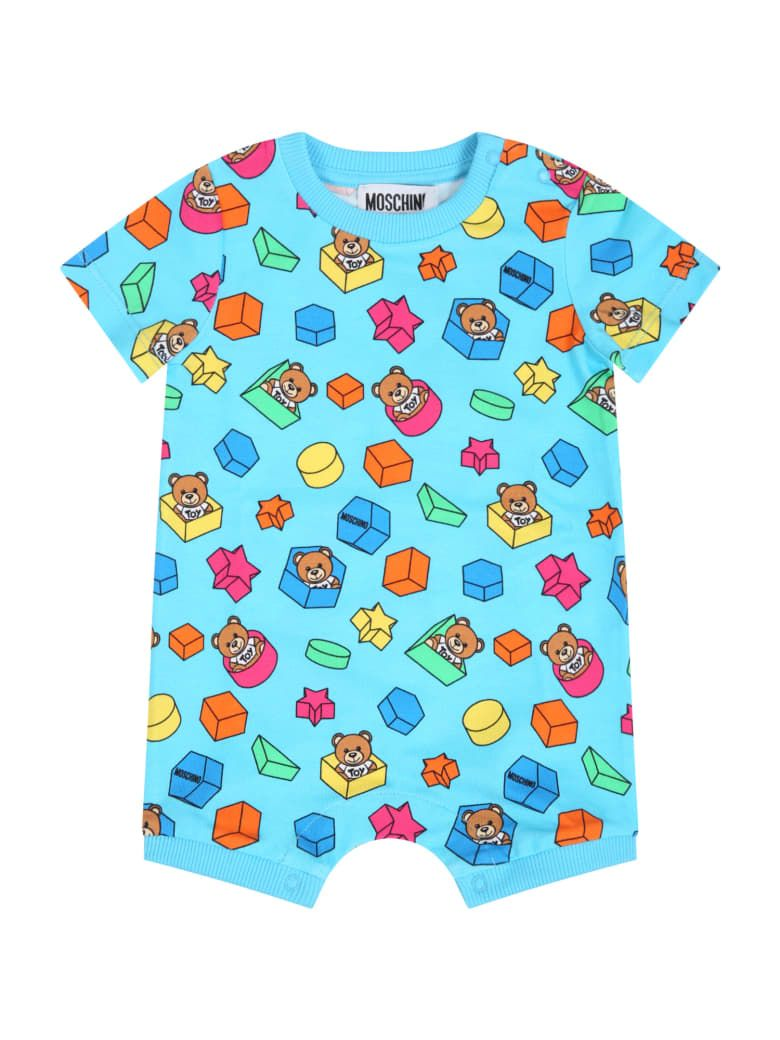 MMT01I LBB53 / 85837 BLUE / Baby Ss Romper W Toy Geometric Prt Allover and G B