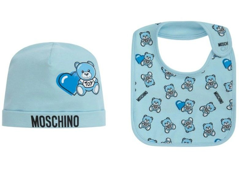 MUY03E LBB56. / 82162 SKY BLUE / Baby Hat and Bib W Heart Bear Prt Giftset