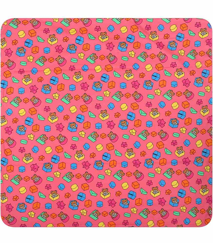 MUX03K LBB53. / 85836 ROSE / Baby Blanket W Geometric Toy Allover