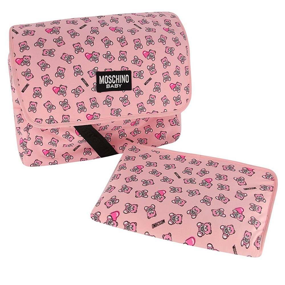 MMX03D LDB50 / 83343 SUG ROSE / Baby Changing Bag W Mat and Heart Bear Prt